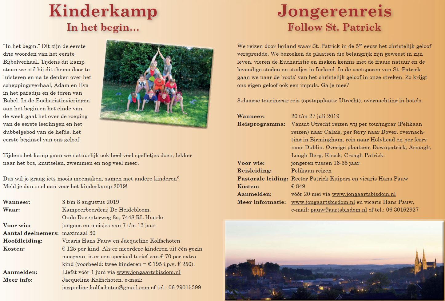 Kinderkamp En Jongerenreis Zomer 2019 H Norbertusparochie